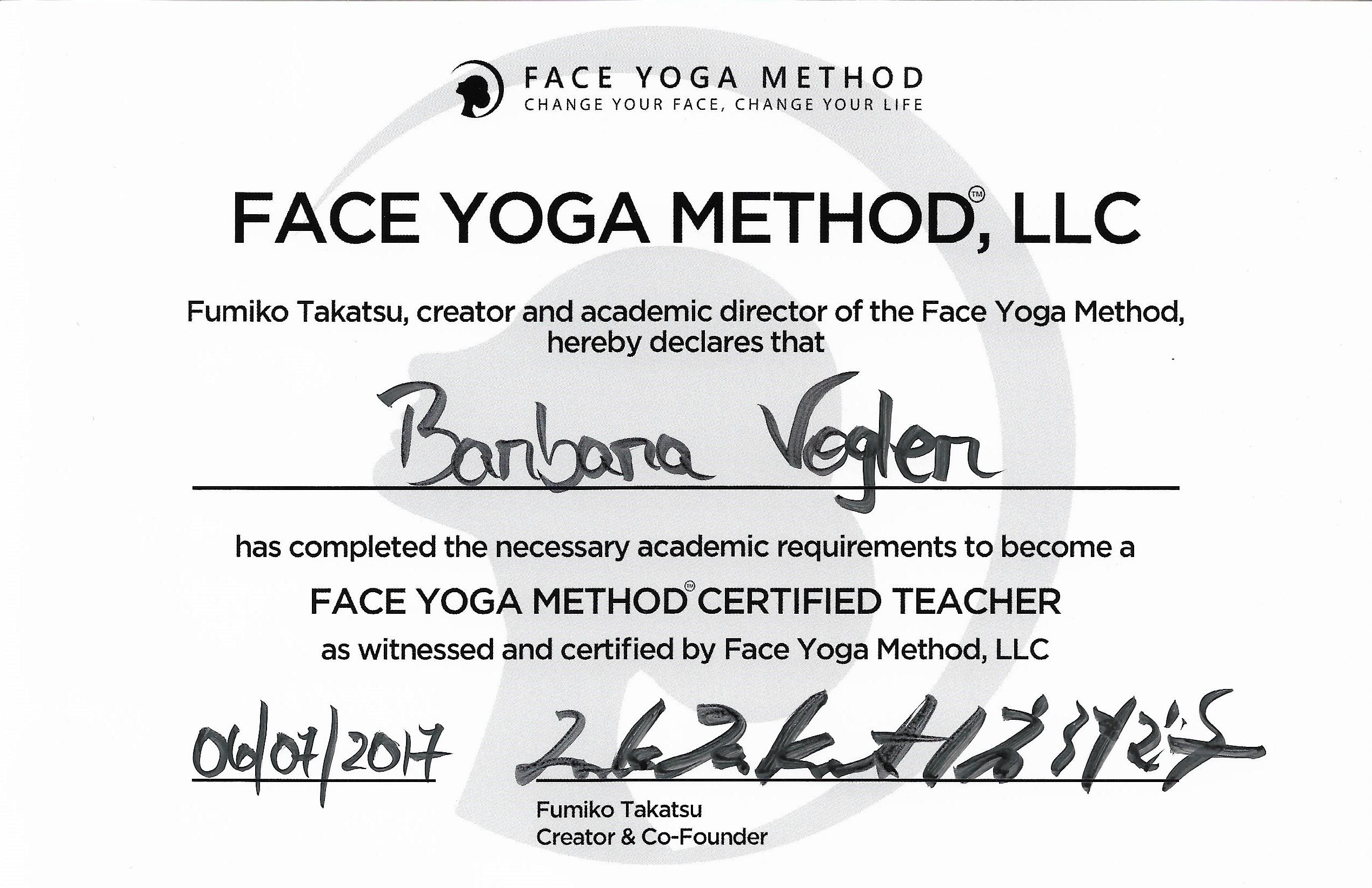 Zertifikat Face Yoga Method